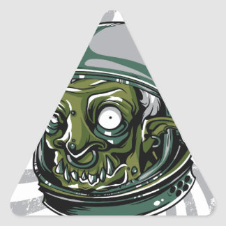 vintage zombie scary face triangle sticker