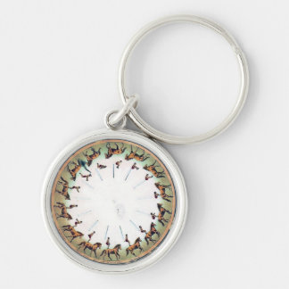 Vintage Zoopraxiscope - Horseback sommersault Silver-Colored Round Keychain