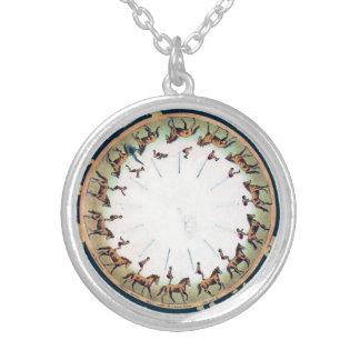 Vintage Zoopraxiscope - Horseback sommersault Round Pendant Necklace