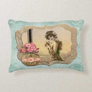 VintageBeauty Framed MintGreen Roses Accent Pillow