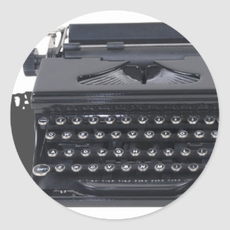 VintageManualTypewriter103013.png Classic Round Sticker