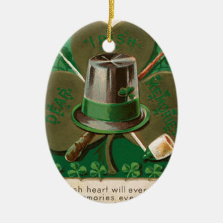 VintageSaint Patrick's day shamrock erin go bragh Ceramic Ornament