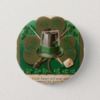 VintageSaint Patrick's day shamrock erin go bragh Pinback Button