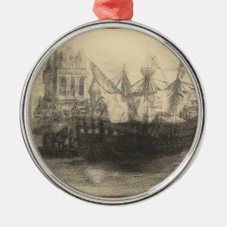 VintageSteeple&Ship Metal Ornament