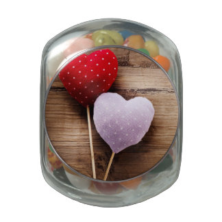 Vintange Hand Made Hearts On Wooden Table Jelly Belly Candy Jar