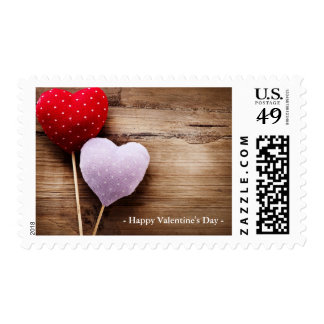 Vintange Hand Made Hearts On Wooden Table Postage