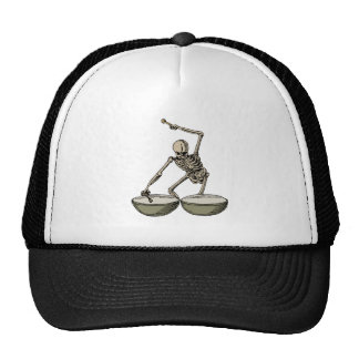 Vintange skeleton playing the death drums, trucker hat