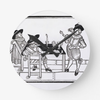 Vintners in a Tudor ale house, from a broadsheet ' Round Clock