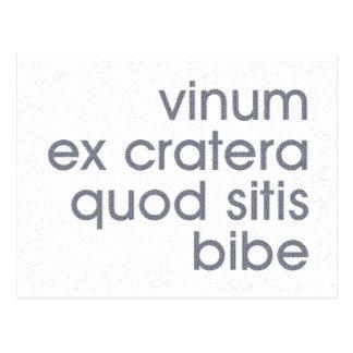 vinum ex cratera quod sitis bibe postcard