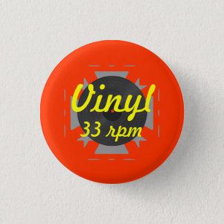 Vinyl 33 rpm/Yellow/Orange Pinback Button