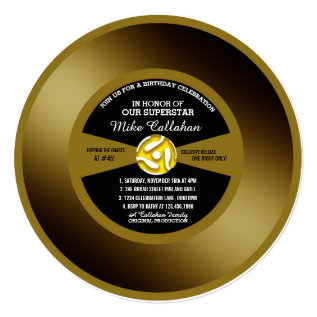Vinyl 45 Gold Record Birthday Party Invitation at Zazzle