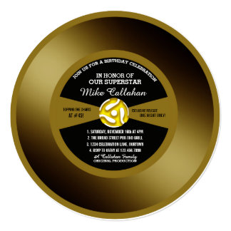 Vinyl 45 Gold Record Birthday Party Invitation