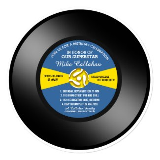 Vinyl 45 Record Birthday Party Invitation