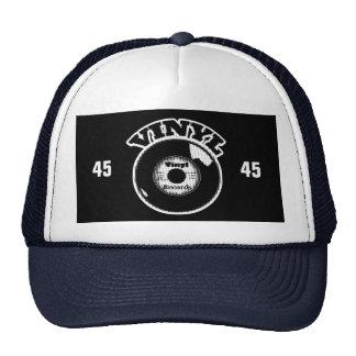 VINYL 45 RPM Record Black and White Trucker Hat