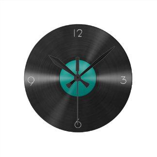 Vinyl Clock-Teal Round Wall Clock