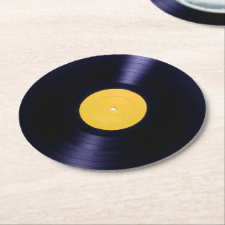 Vinyl disc retro old times style cover round paper coaster