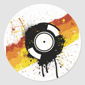 Vinyl Graffiti - DJ record DJing DJs Disc Jockey Classic Round Sticker