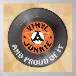 Vinyl Junkie - And Proud of It beige poster