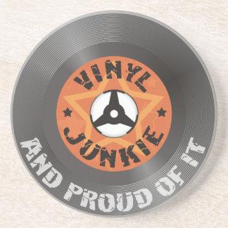 Vinyl Junkie - And Proud of It sandstone coaster