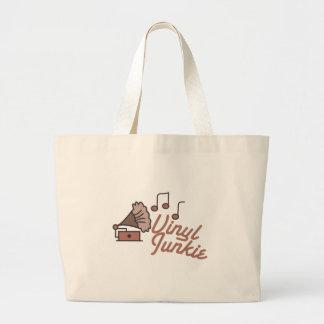 Vinyl Junkie Large Tote Bag