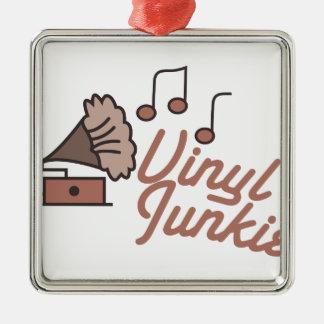 Vinyl Junkie Metal Ornament