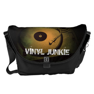 Vinyl Junkie Old Retro turn table Messenger Bag