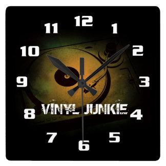 Vinyl Junkie Old Retro turn table Square Wallclock
