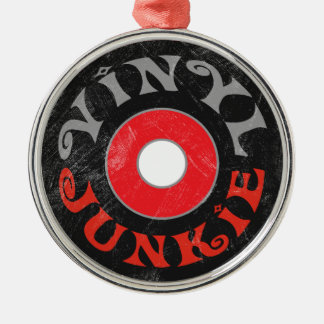Vinyl Junkie Round Metal Frame Holiday Ornament