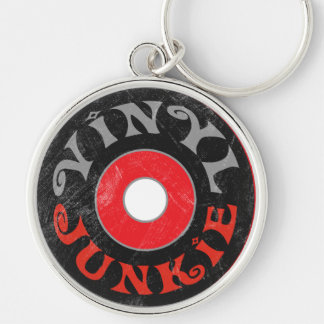 Vinyl Junkie Silver-Colored Round Keychain