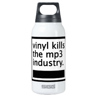 vinyl kills the mp3 industry - vintage insulated water bottle
