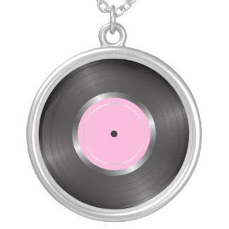 Vinyl long play disc silver plated necklace