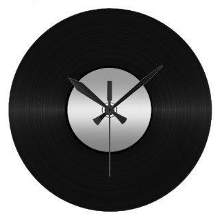 Vinyl LP Record Background Large Clock