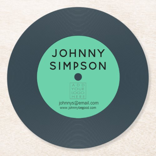 Vinyl LP Record Retro Personalized Bar Table Cup Round Paper Coaster