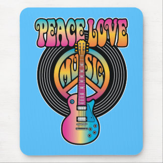 Vinyl Peace Love Music Mouse Pad