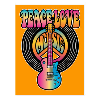 Vinyl Peace Love Music Postcard