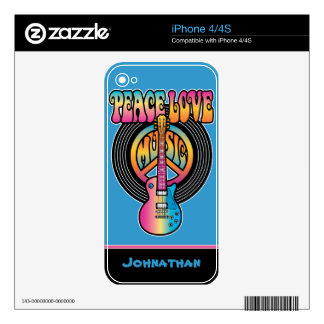 Vinyl Peace Love Music Skin For iPhone 4