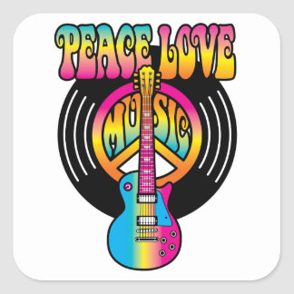 Vinyl Peace Love & Music Square Sticker