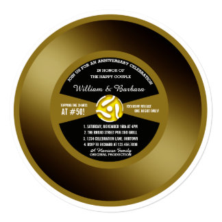 Vinyl Record 50th Anniversary Party Invitation