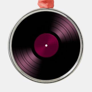 Vinyl Record Album in Pink Metal Ornament