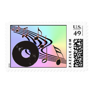 Vinyl Record and Notes Postage Stamp