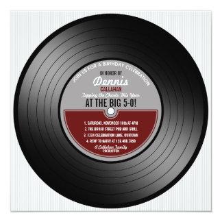 Vinyl Record Birthday Party Invitation