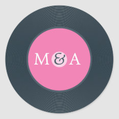 Vinyl Record Custom Wedding Classic Round Sticker at Zazzle