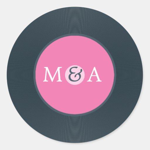 Vinyl Record Custom Wedding Classic Round Sticker Zazzle