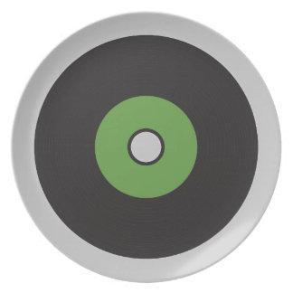 Vinyl Record Green Black and Grey Melamine Plate