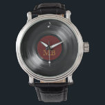 "vinyl record hour wrist watch<br><div class=""desc"">Add your own name initial letters to this vinyl record image</div>"