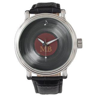 vinyl record hour wrist watch