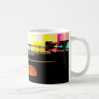Vinyl record on turntable coffee mug
