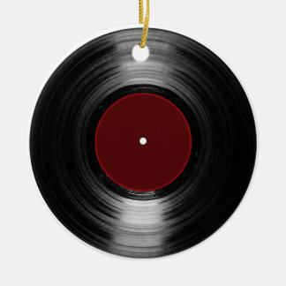 vinyl record Double-Sided ceramic round christmas ornament