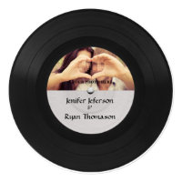 vinyl record photo wedding Invitation