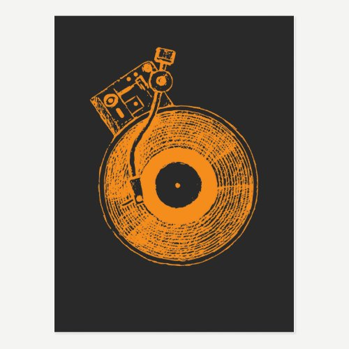 Vinyl Record Player Turntable Music Gift for DJ Postcard